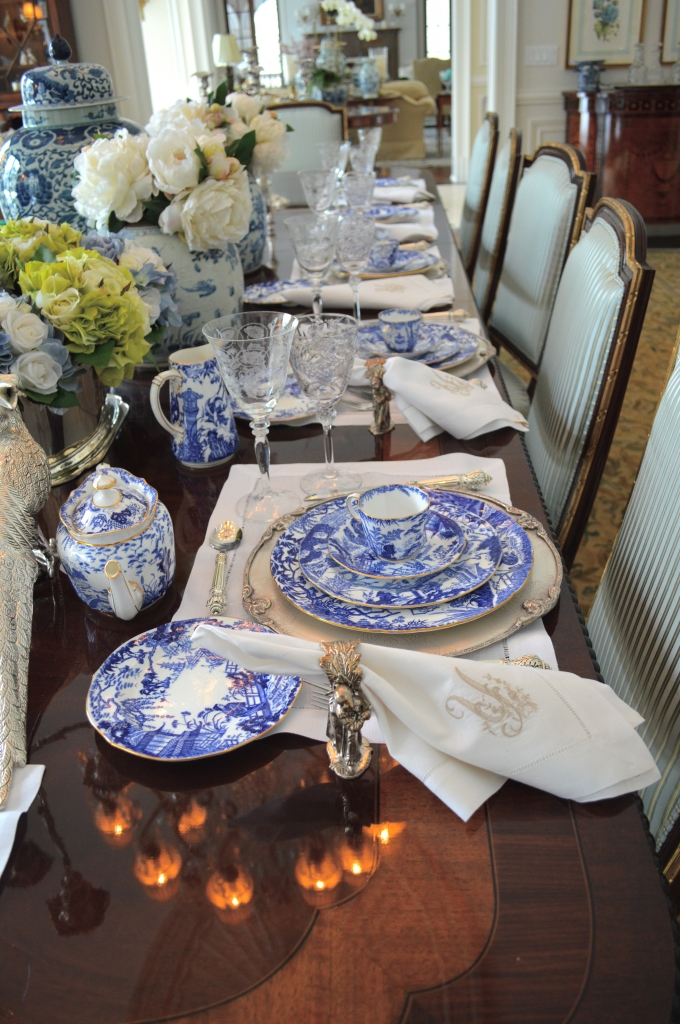 As are my elegant chargers (in my online shop) ... & Setting a blue and white table.... - The Enchanted Home