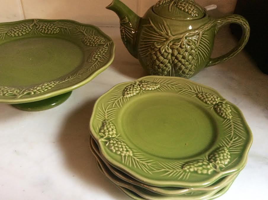SOLD Found 6 more of the appetizer/salad green pine cone plates and a teapot. Set of 6 plates and teapot and cake plate. Retail would be more than double). & Biggest yet Steals and Deals! - The Enchanted Home