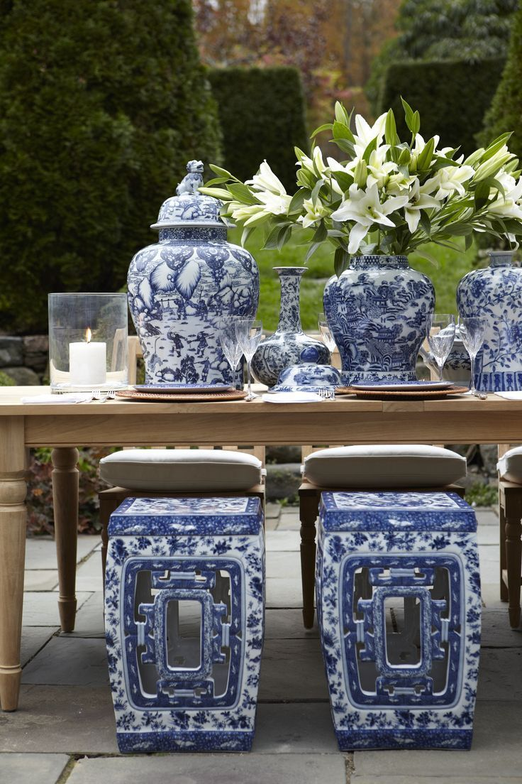 Accessory alert garden seats the enchanted home for Decorating with blue and white pottery