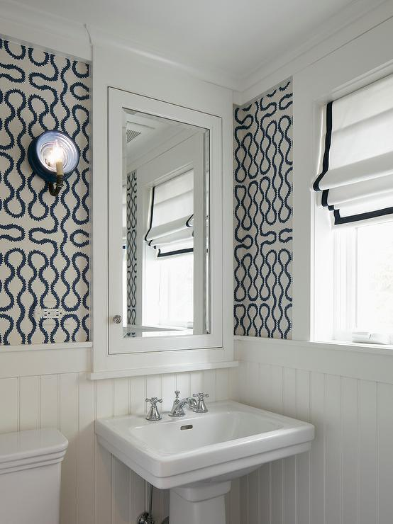 The puff on powder rooms the enchanted home for Wallpaper trends for bathrooms