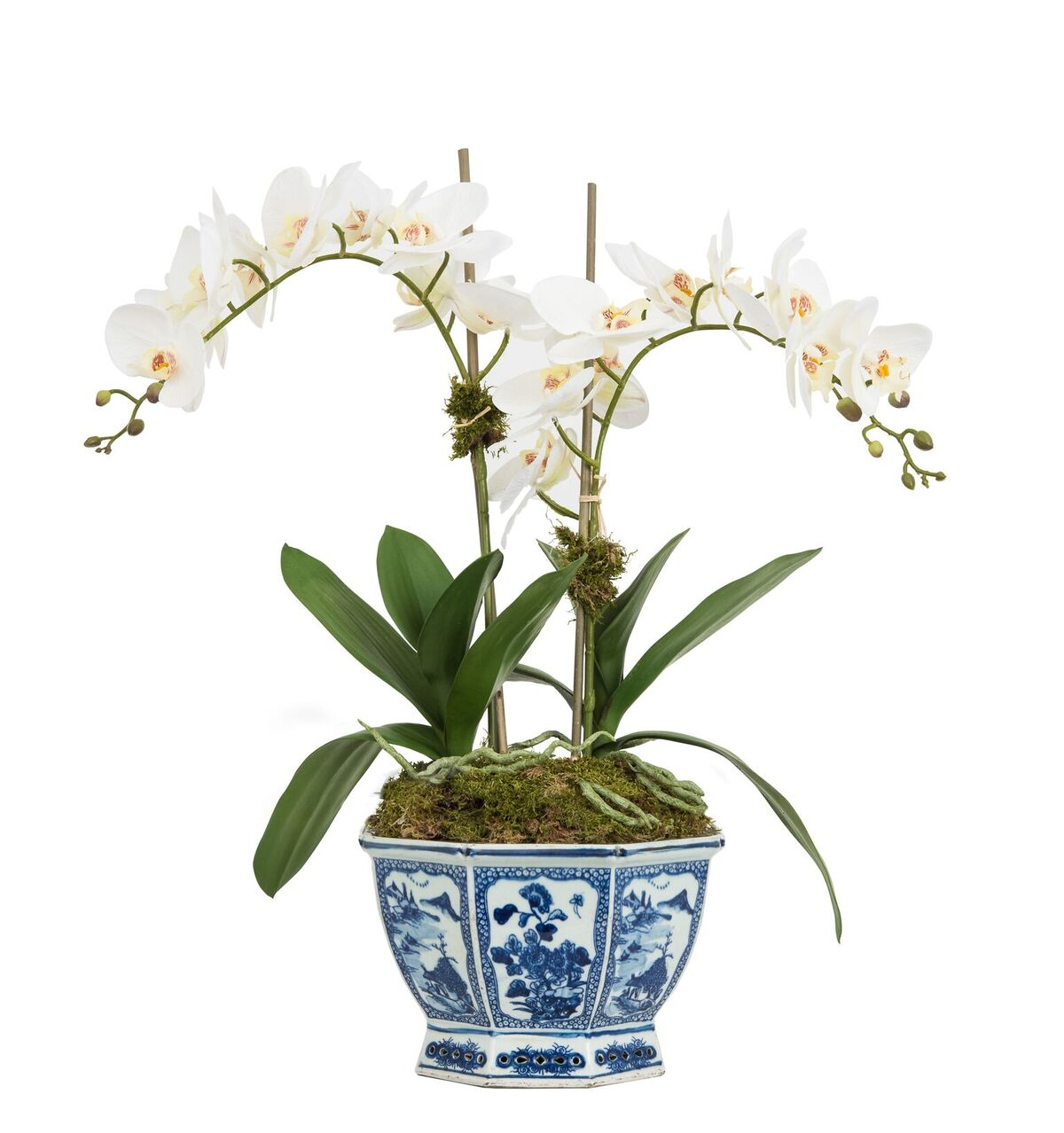Fabulous Two Stem Lifelike Orchid In One Of My Best Ing Blue And White Mid Sized Planters This Beauty Measures At It S Widest Tallest 24 X 21