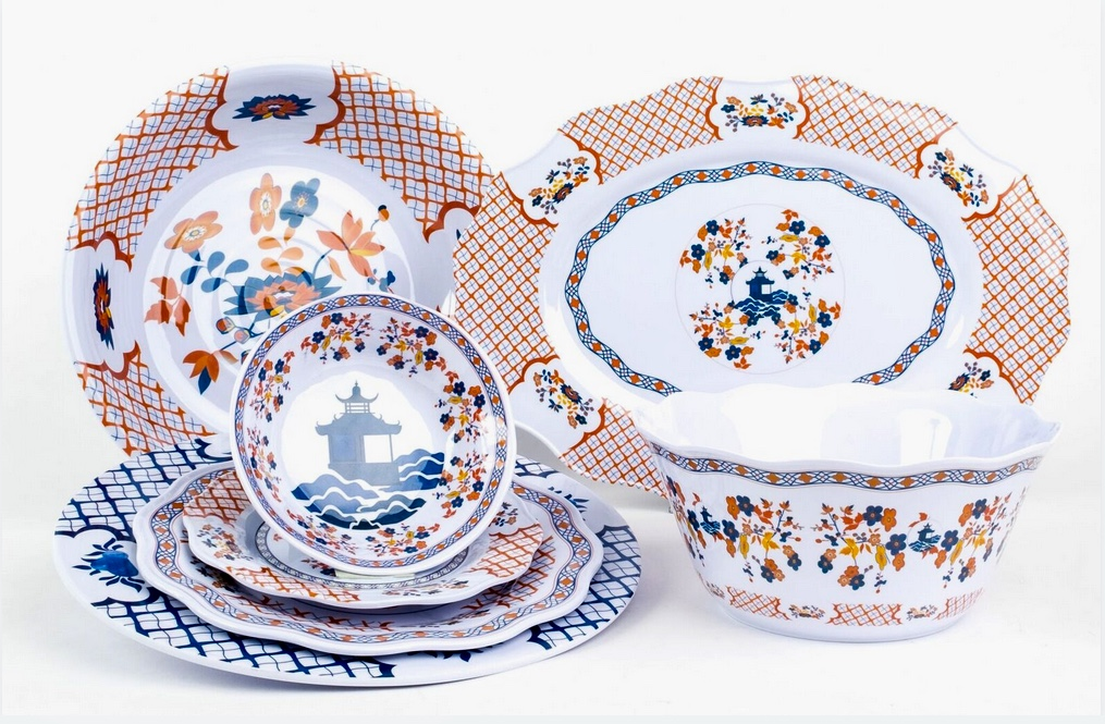 The burnt orange/blue/white collection  sc 1 st  The Enchanted Home & The long awaited melamine is here and a special giveaway! - The ...