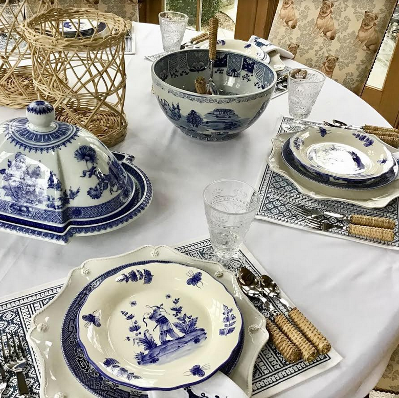 Setting a blue and white table…….
