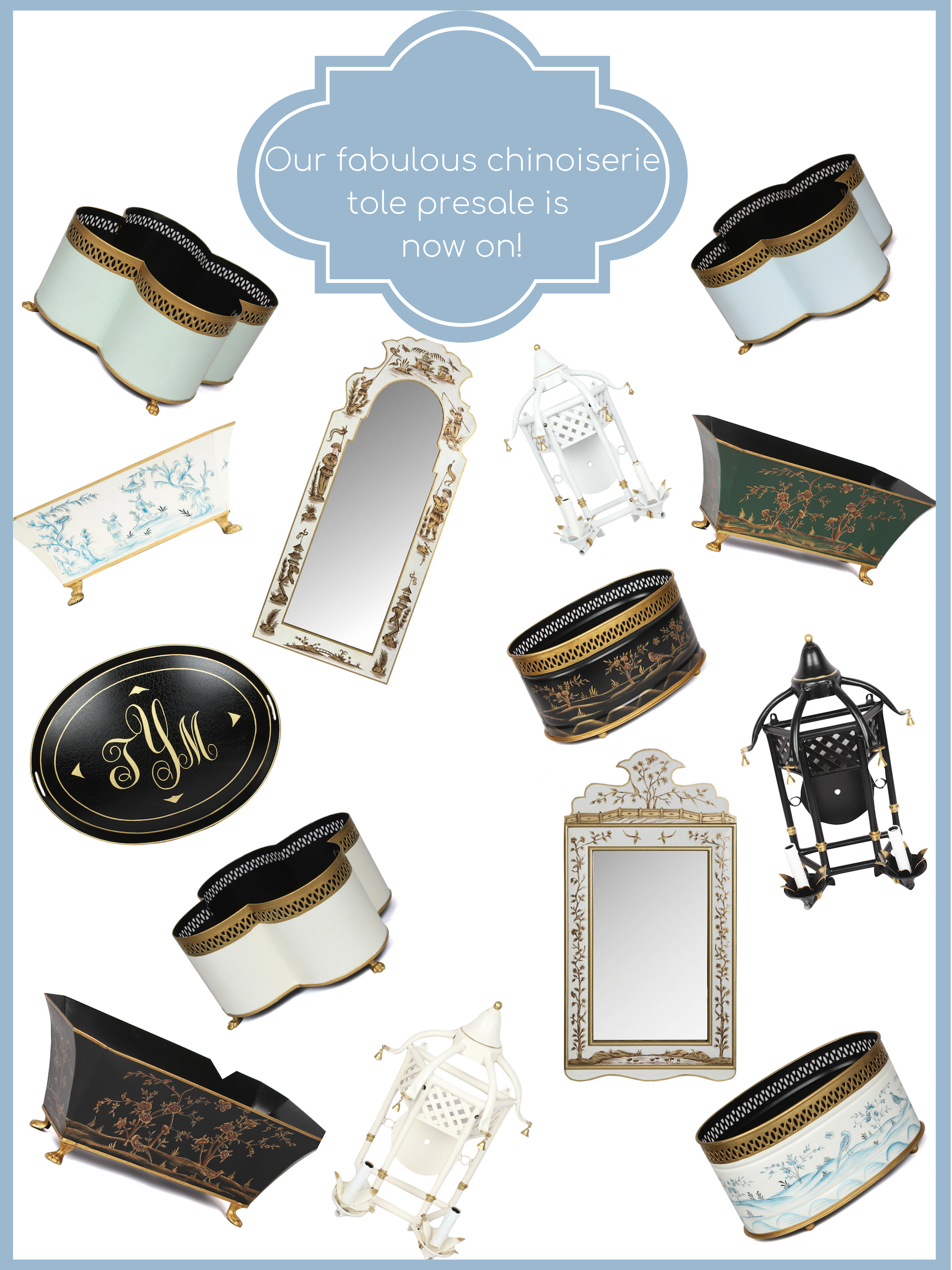 Our chinoiserie tole presale in on and a tole giveaway!
