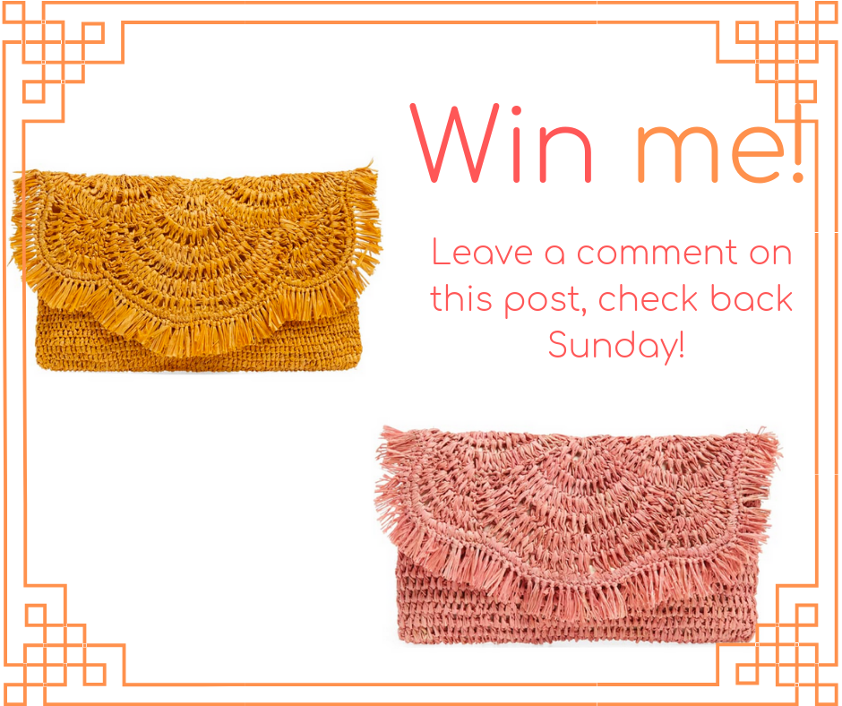 """1bd3397ab9743b One very lucky winner will win this fabulous """"vacation ready"""" raffia clutch  (in color of your choice) to get your next vacation off to a stylish start!"""