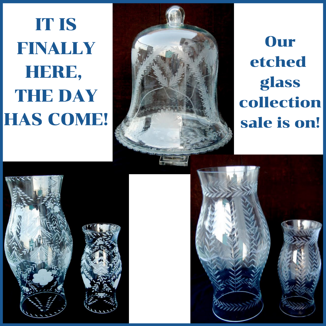 A winner, new etched glass pieces and wicker hurricanes arrival sale plus a giveaway!