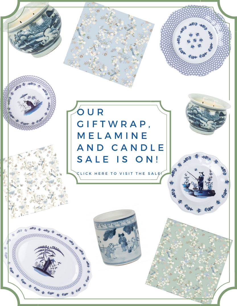 Our new chinoiserie giftwrap and new melamine arrival sale is on plus a giveaway!