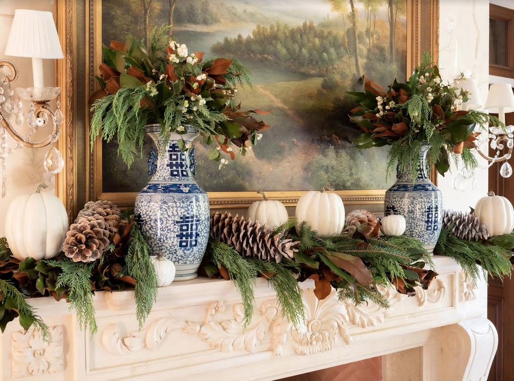 Celebrating Fall With Fresh Magnolia Blue And White And A Diy The Enchanted Home