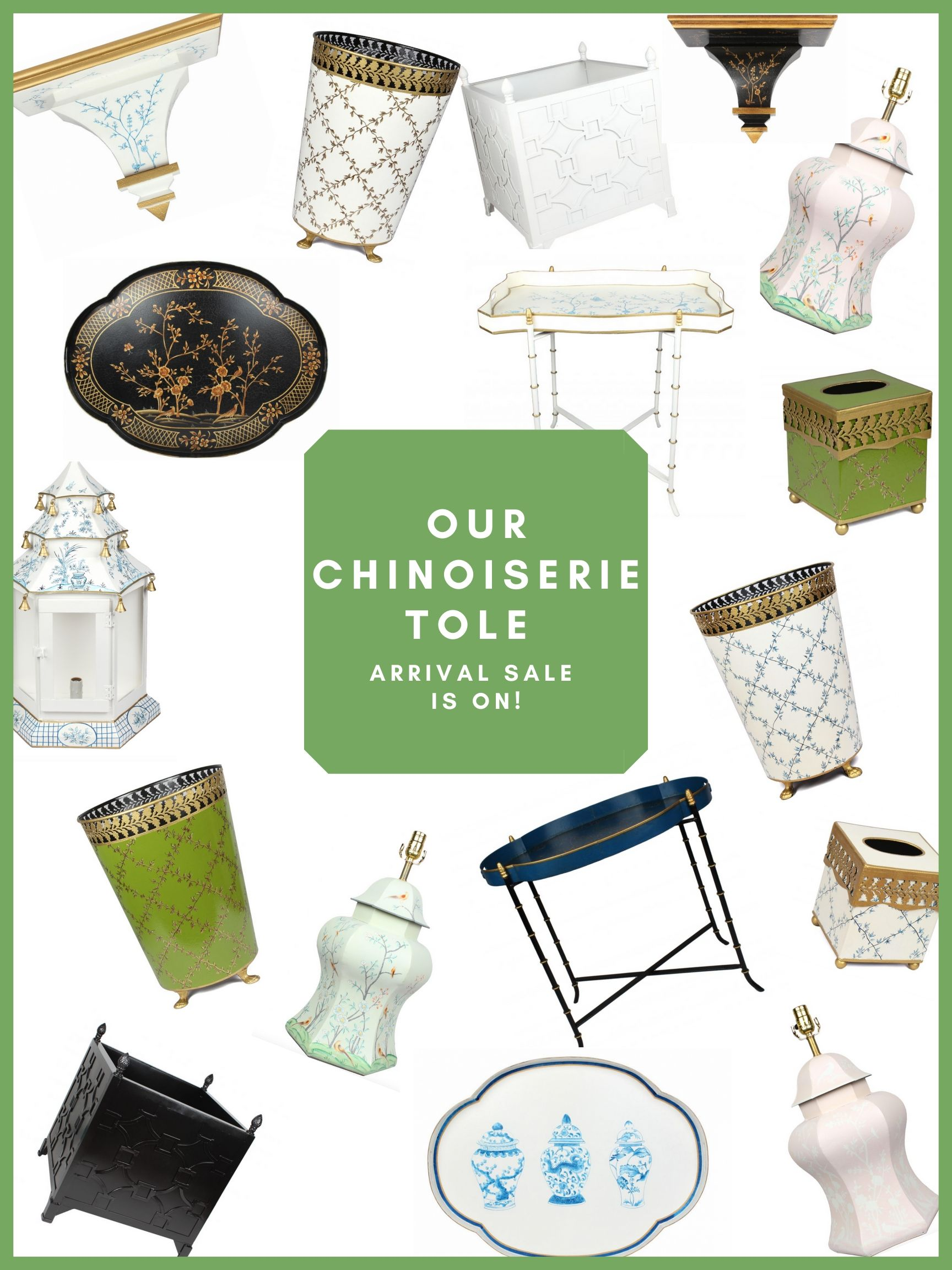 The Presale for our newest chinoiseire tole container is on plus a giveaway!