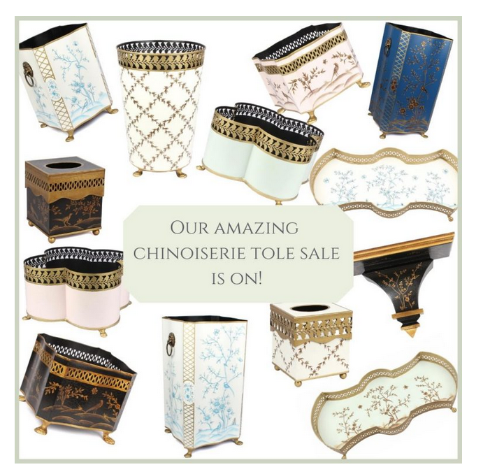 Our chinoiserie tole arrival sale is finally on and a giveaway!