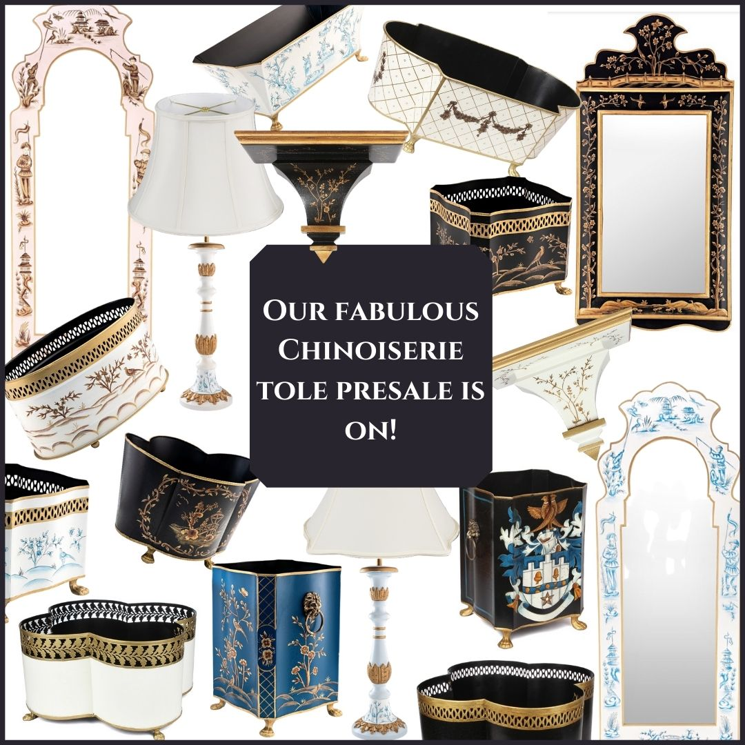 Our October chinoiserie tole presale is on plus a giveaway!