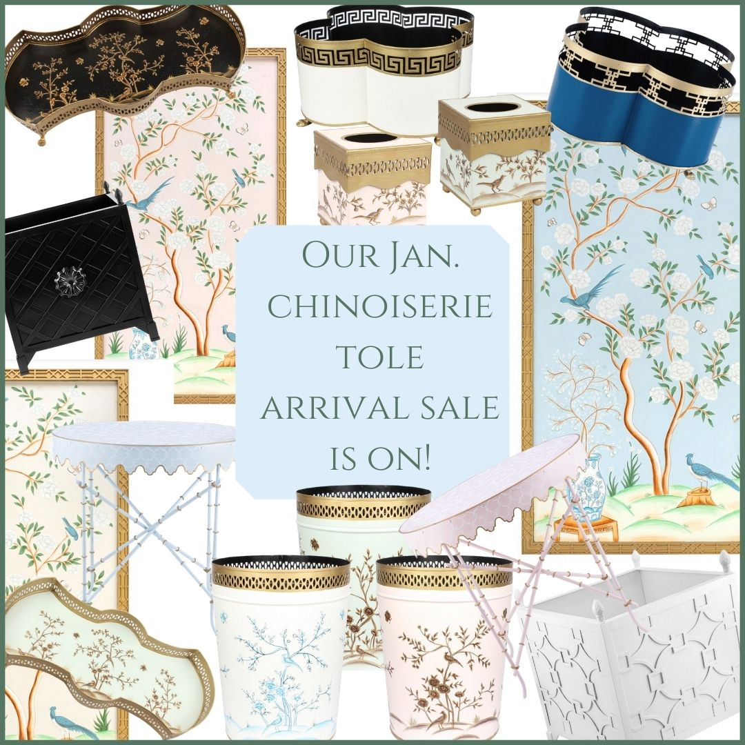 Our January chinoiserie  tole arrival sale is on!