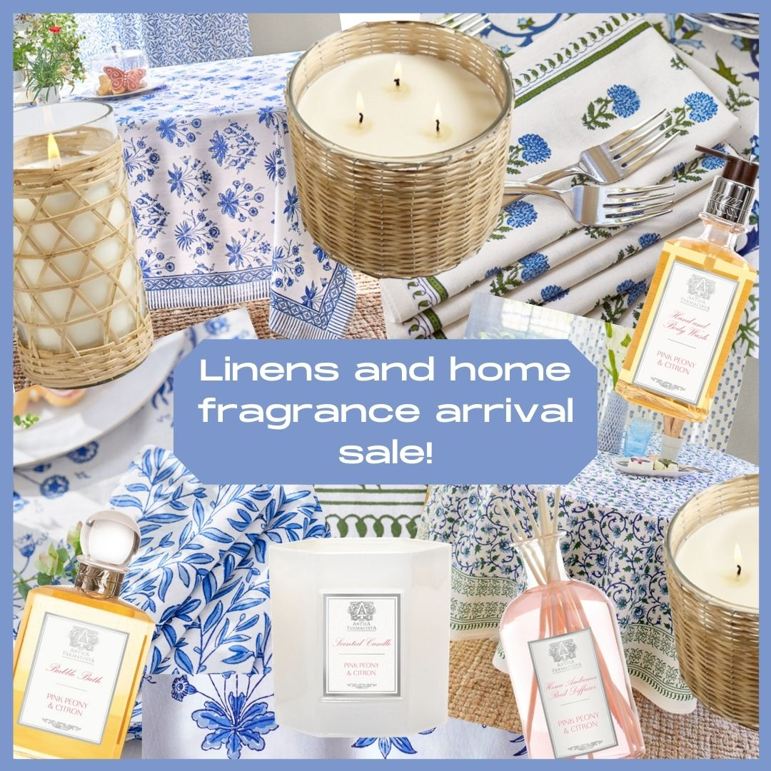 An amazing linens and home fragrance arrival sale!