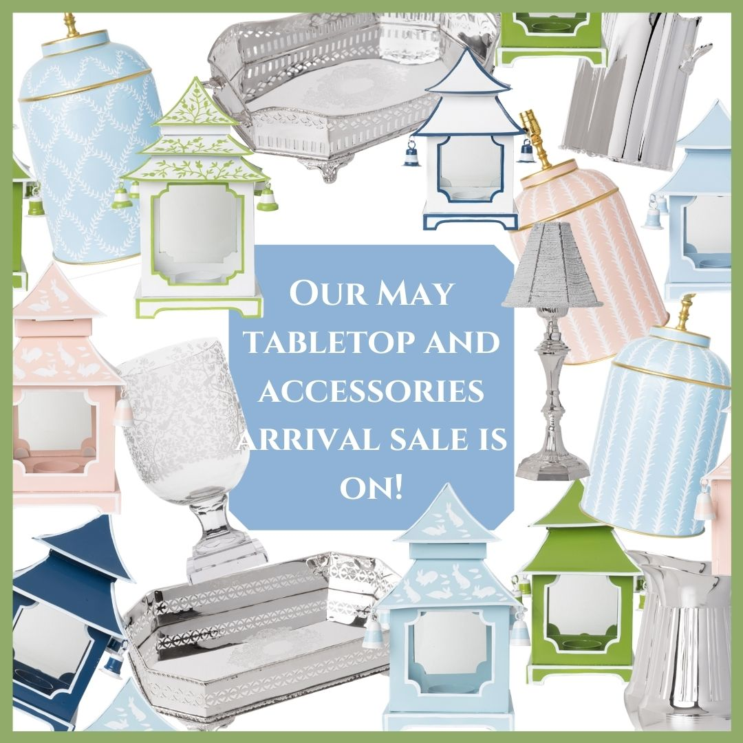 Our accessories/tabletop arrival sale is on and a fun giveaway!