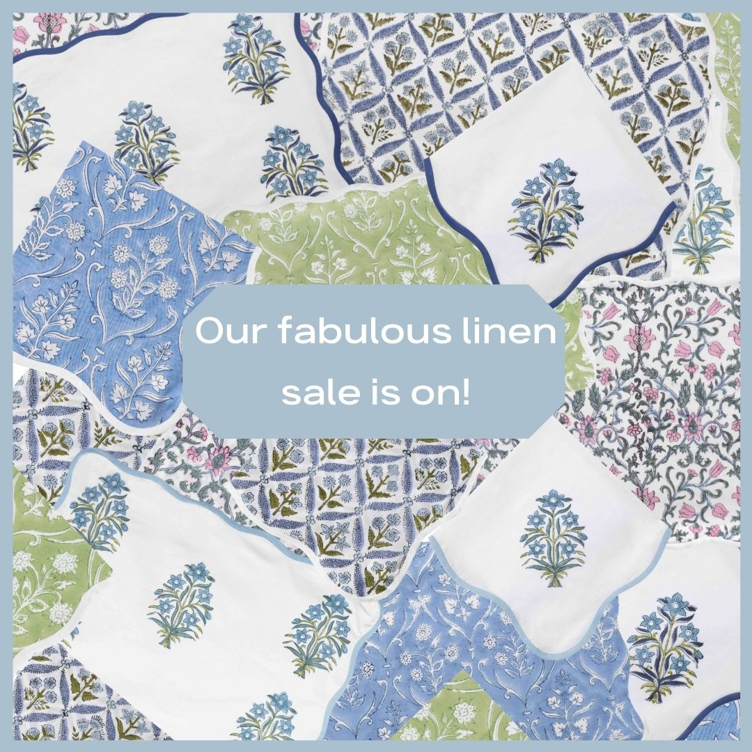 Say hello to a fabulous new collection of linens and a special arrival sale!