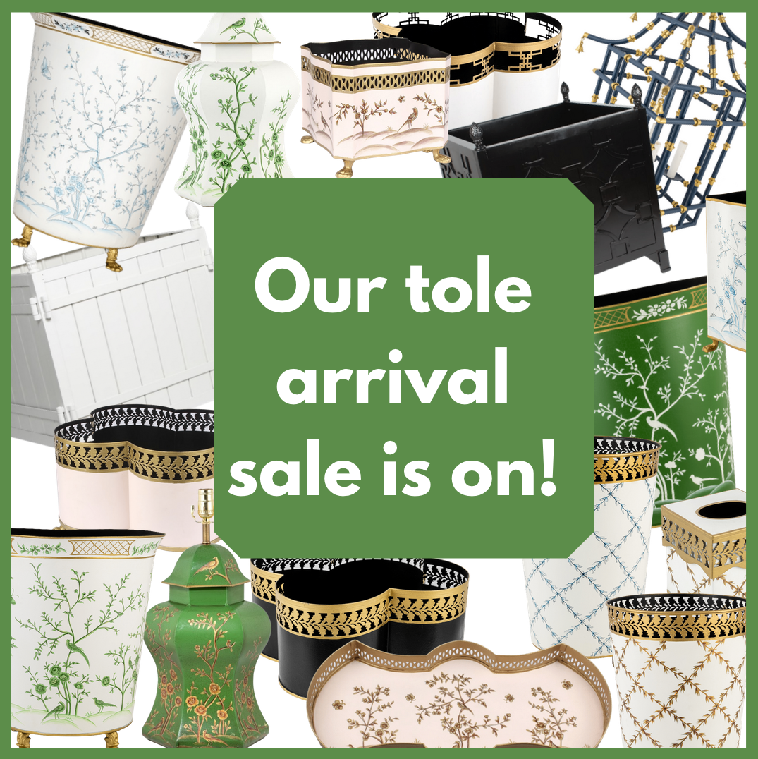 Our chinoiserie tole arrival sale is on!