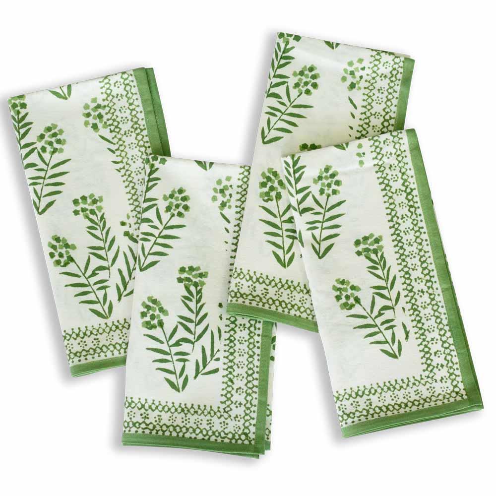 Beautiful Green leaf napkins (set of 4)