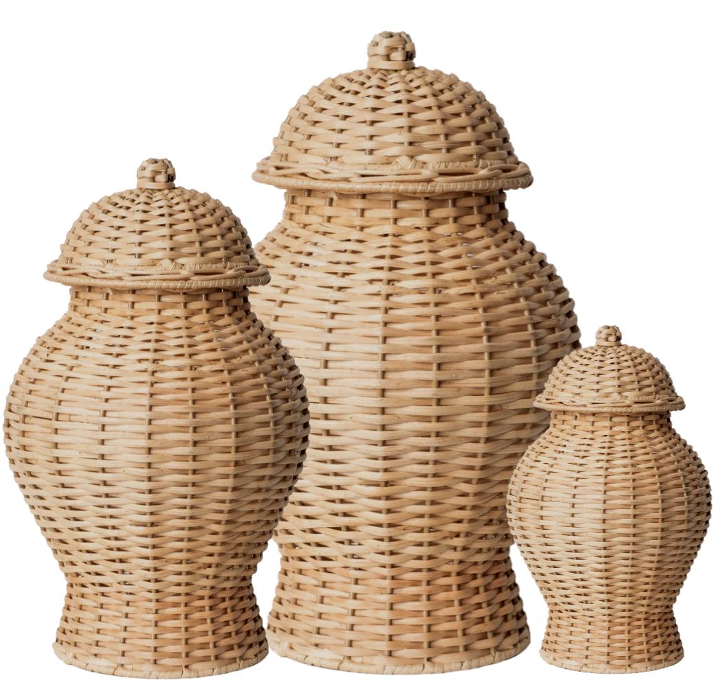 Beautiful trio of wicker ginger jars