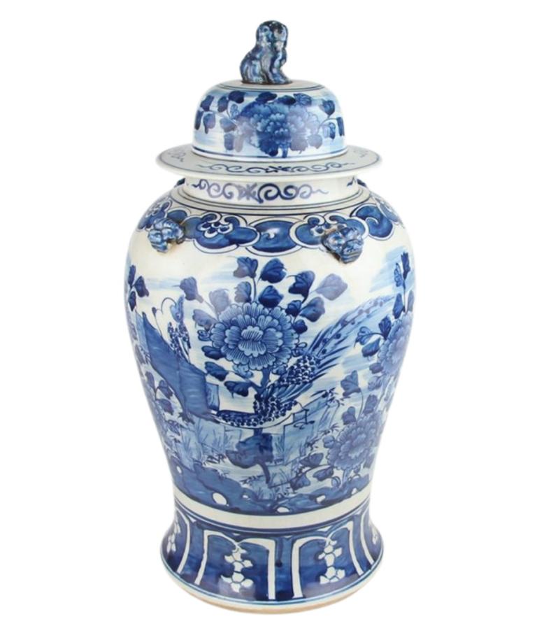 Beautiful new bird and floral ginger jar