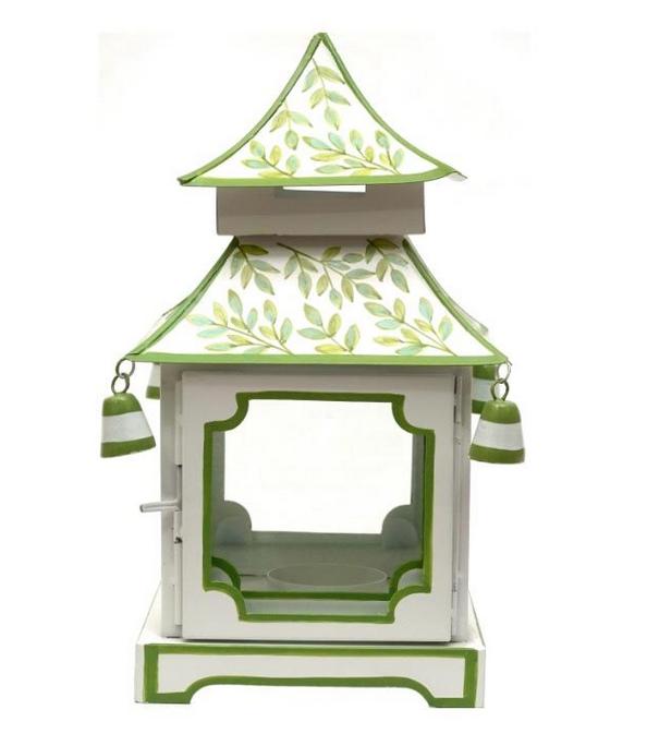 Fabulous green/white handpainted pagoda lantern