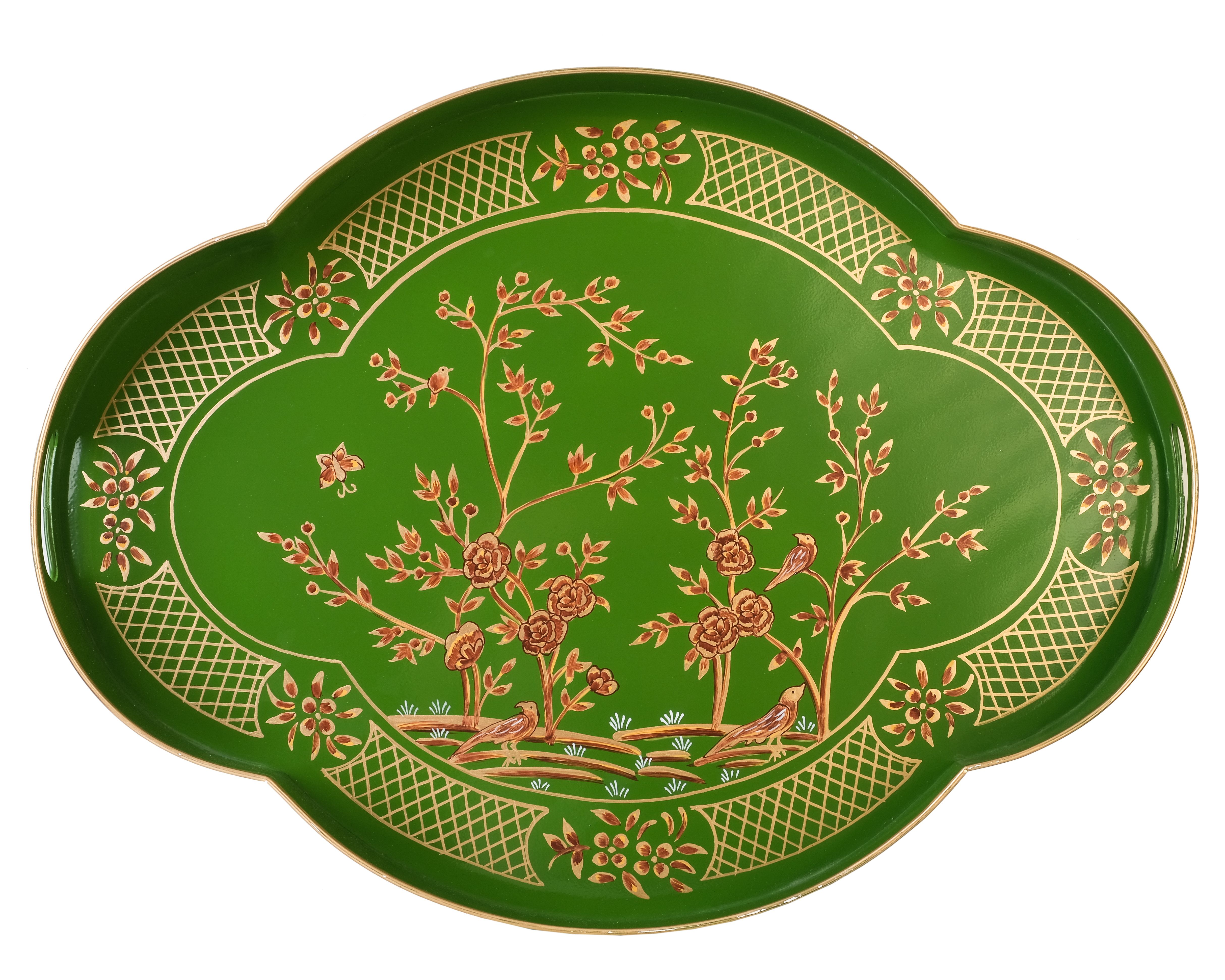 Incredible chinoiserie  mossy green/gold scalloped tray