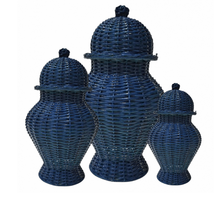 Fabulous colored wicker ginger jar (navy)