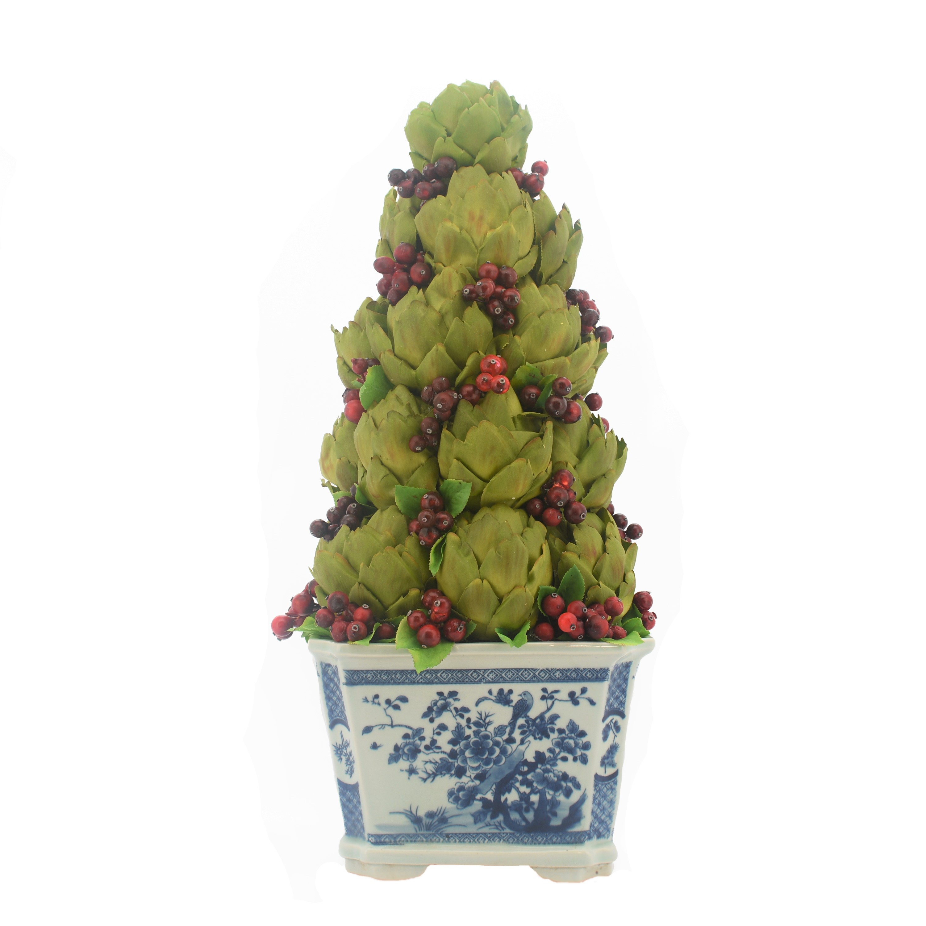 Incredible new artichoke/red berry topiary in blue/white planter