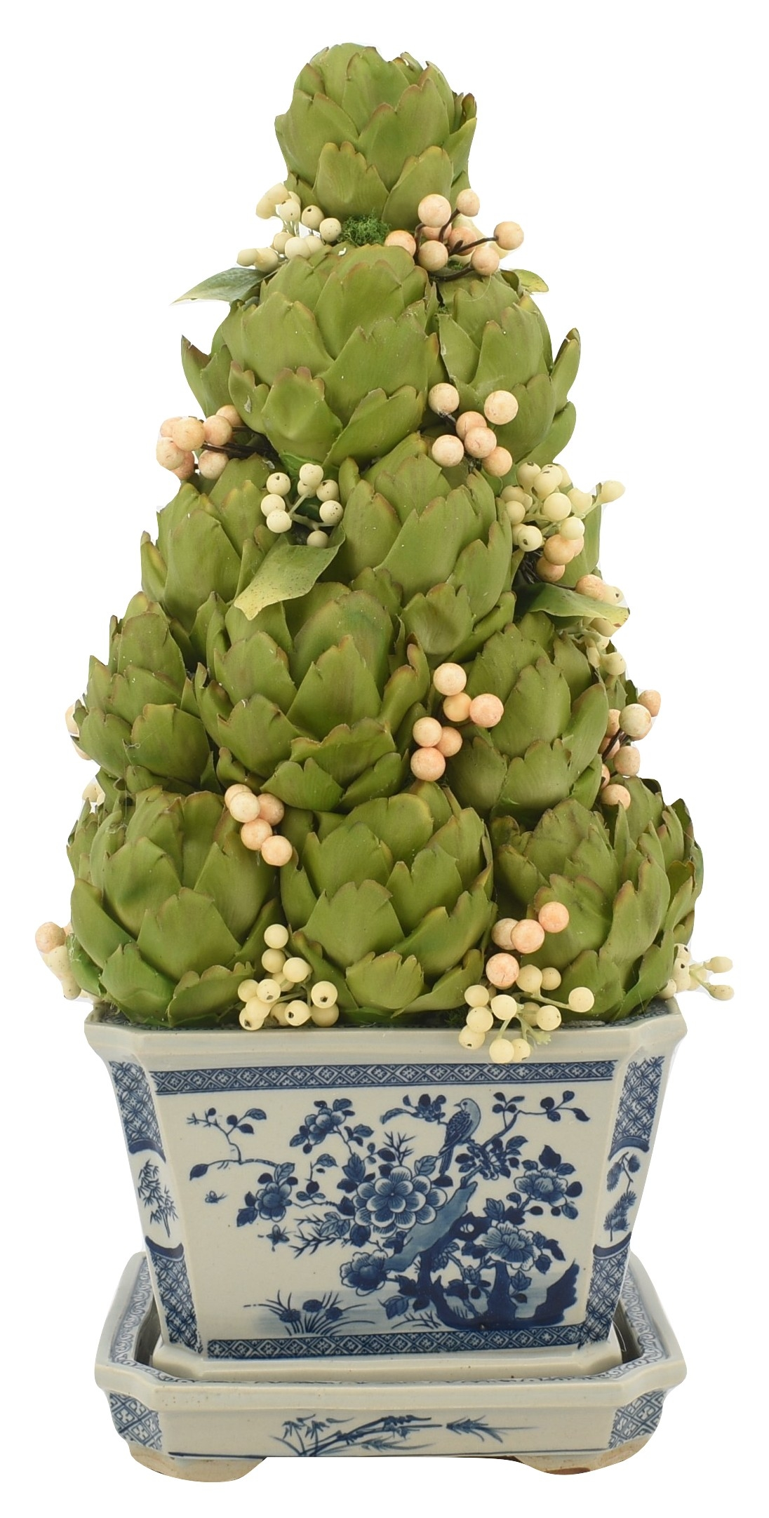 Incredible new artichoke/white berry topiary in blue/white planter