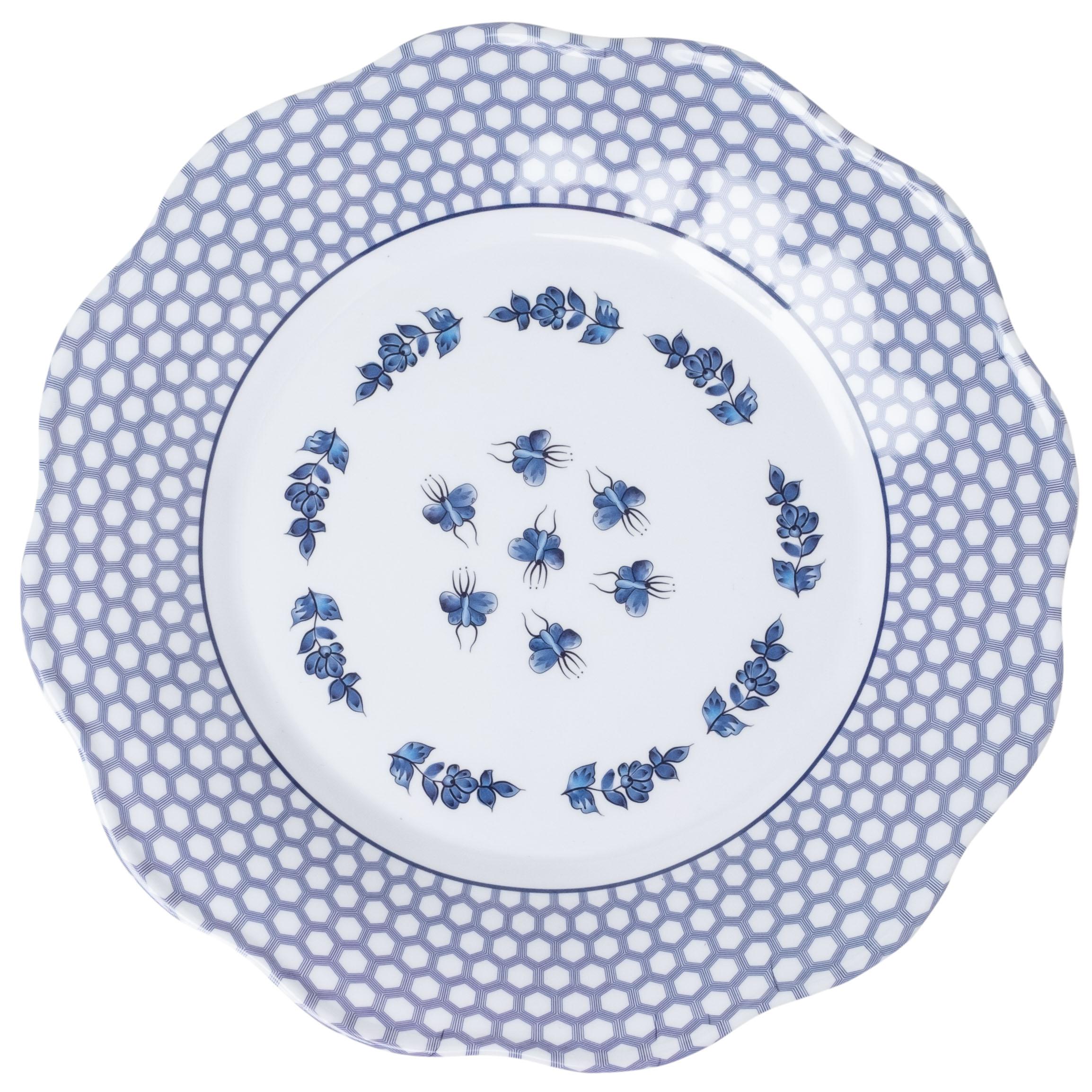 Set of 12 floral/trellis melamine dinner plates