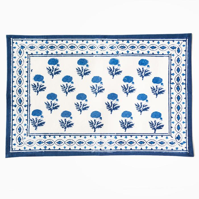 Chic new blue/white handblocked floral placemats