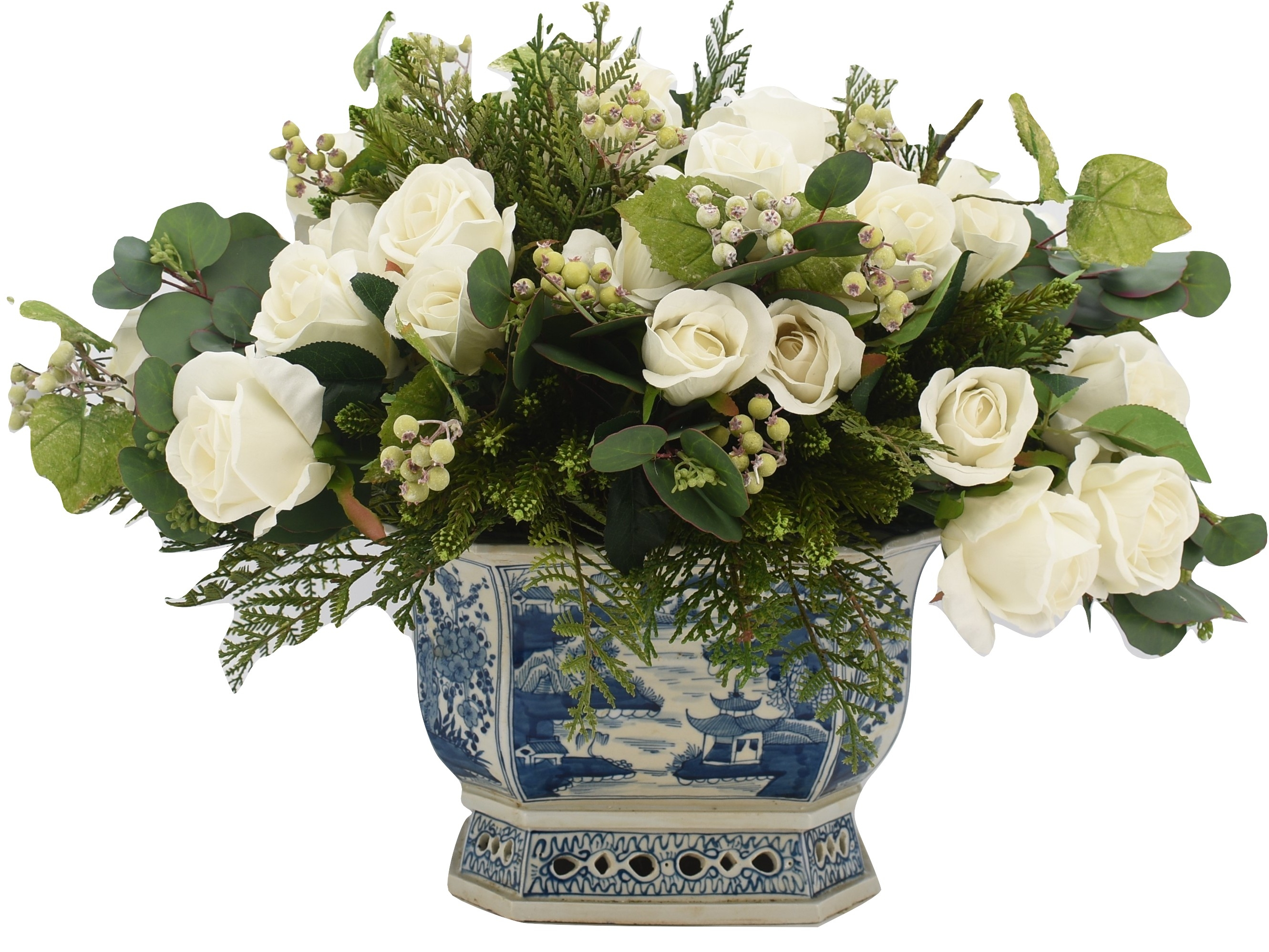 Stunning holiday greenery and white rose arrangement