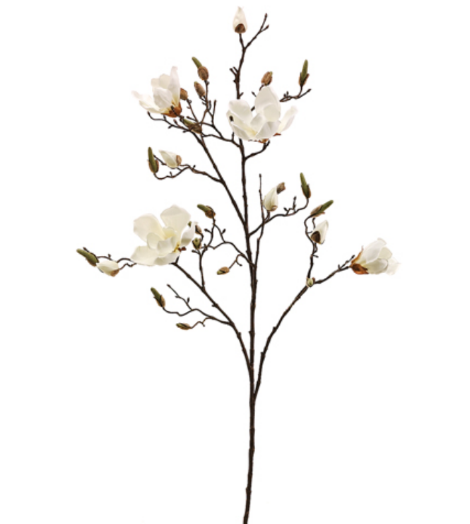 """Fabulous lifelike 40"""" magnolia flower and branches (set of 6 stems)"""