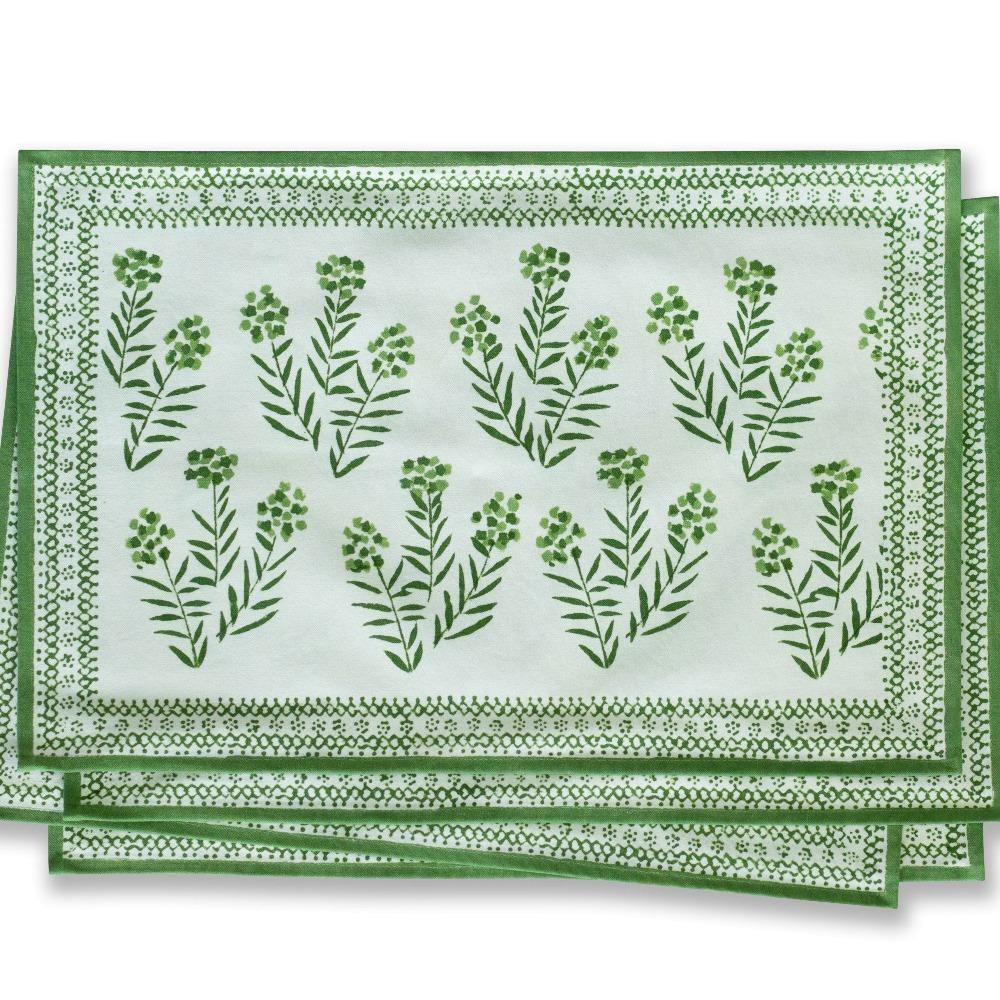 Stunning Green leaf hand blocked place mats (set of 4)