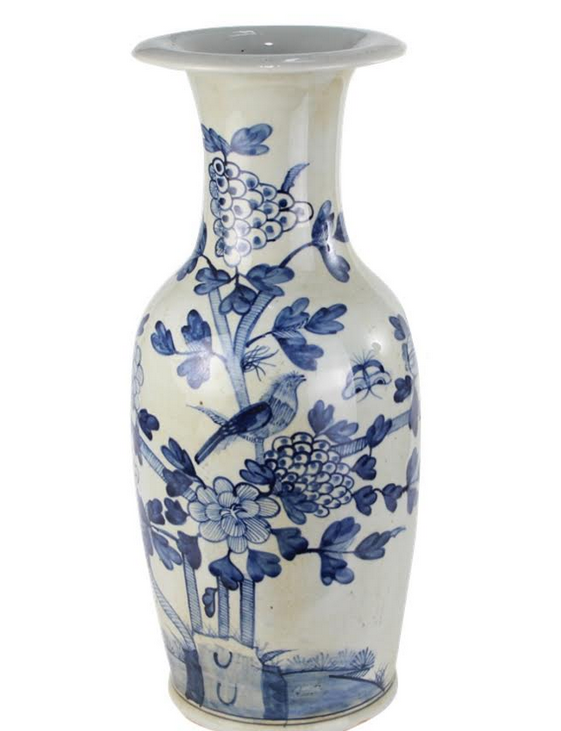 Extra Large Bird and Cherry Blossom Vase