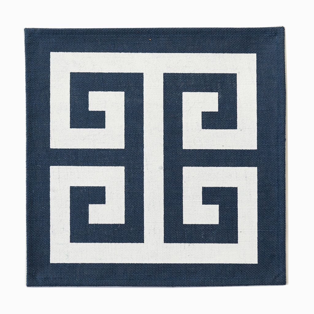 Fabulous set of Navy Greek key jute square placemats