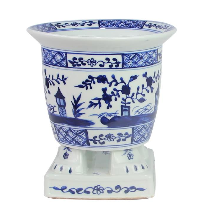 Incredible new footed porcelain chinoiserie planter (darker blue)