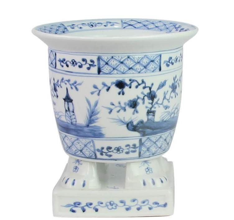 Incredible new footed porcelain footed planter (lighter blue)