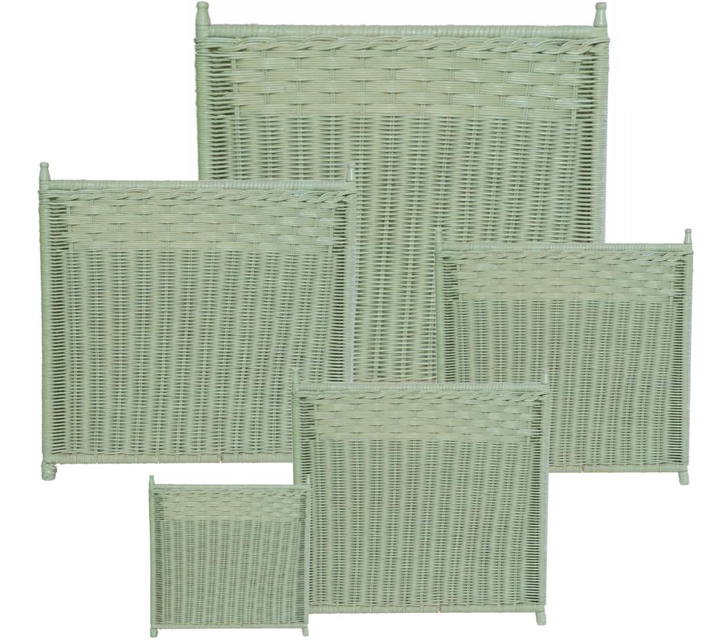 Soft green wicker box planters (5 sizes)