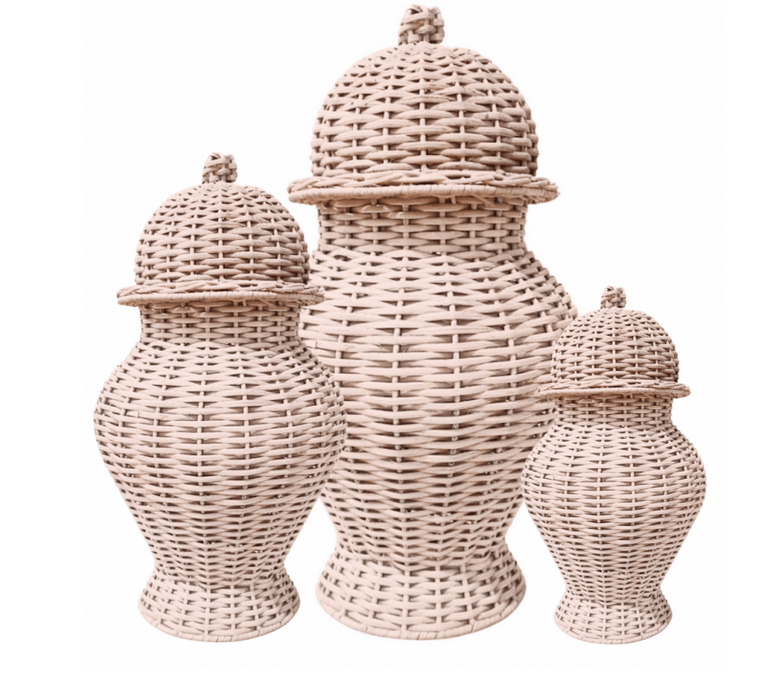 Fabulous colored wicker ginger jar (pale pink)