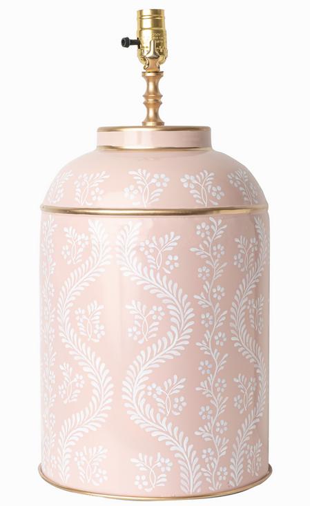 Exquisite trellis pale pink tole lamp