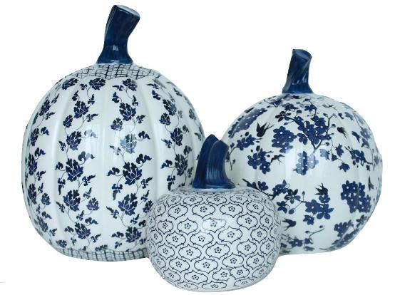 Fabulous Set of Porcelain Blue and White Pumpkins