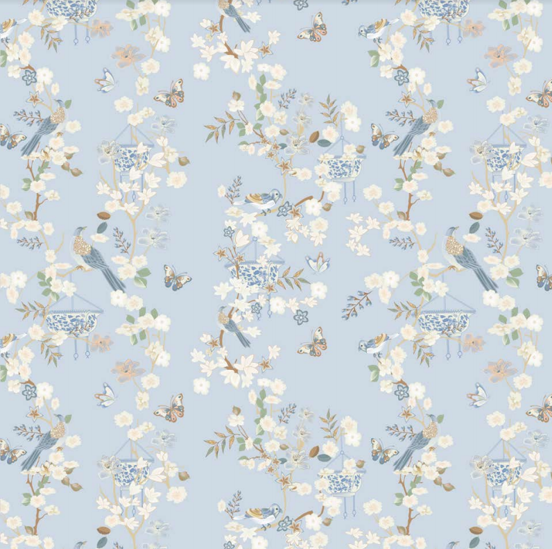 Pale blue Chinoiserie gift wrap