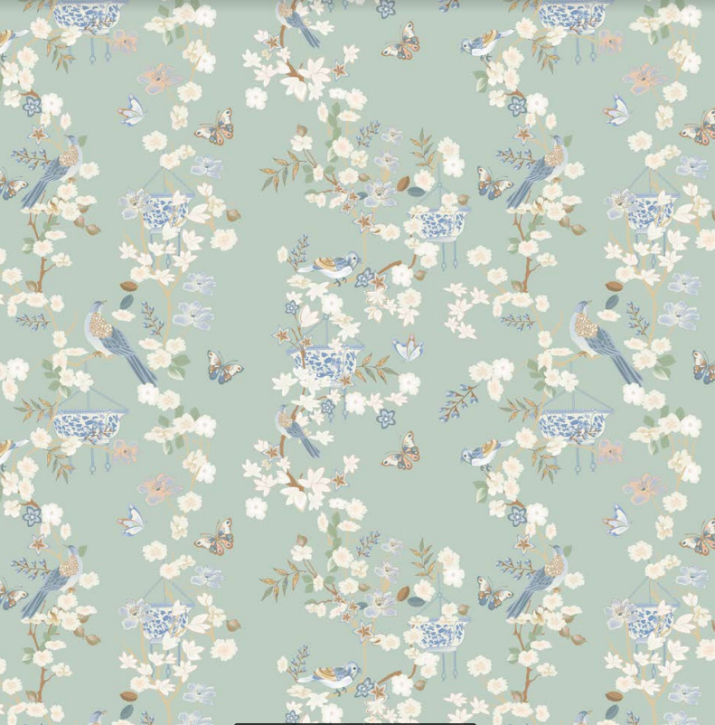 Pale green Chinoiserie gift wrap
