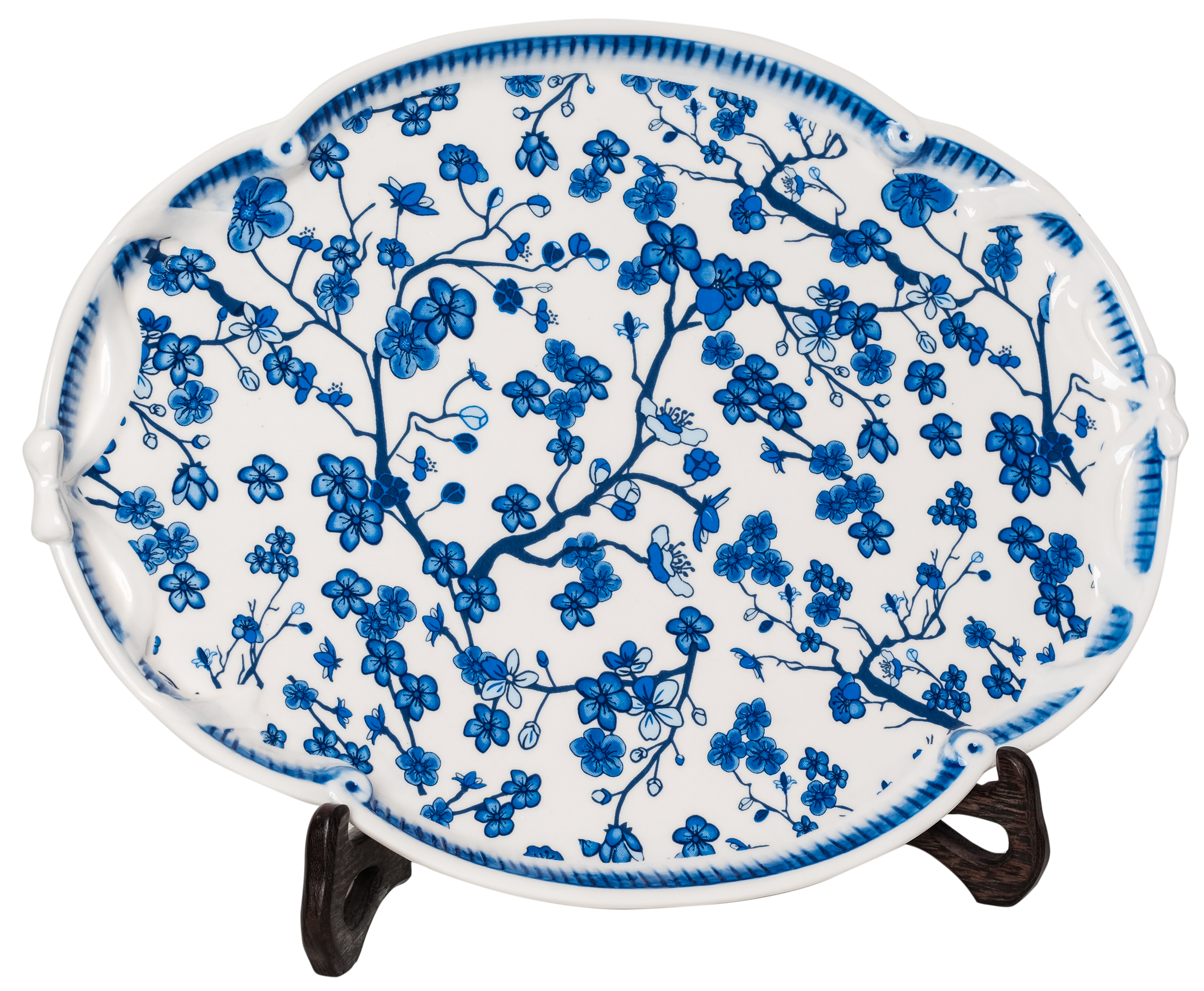 Incredible cherry blossom porcelain scalloped tray
