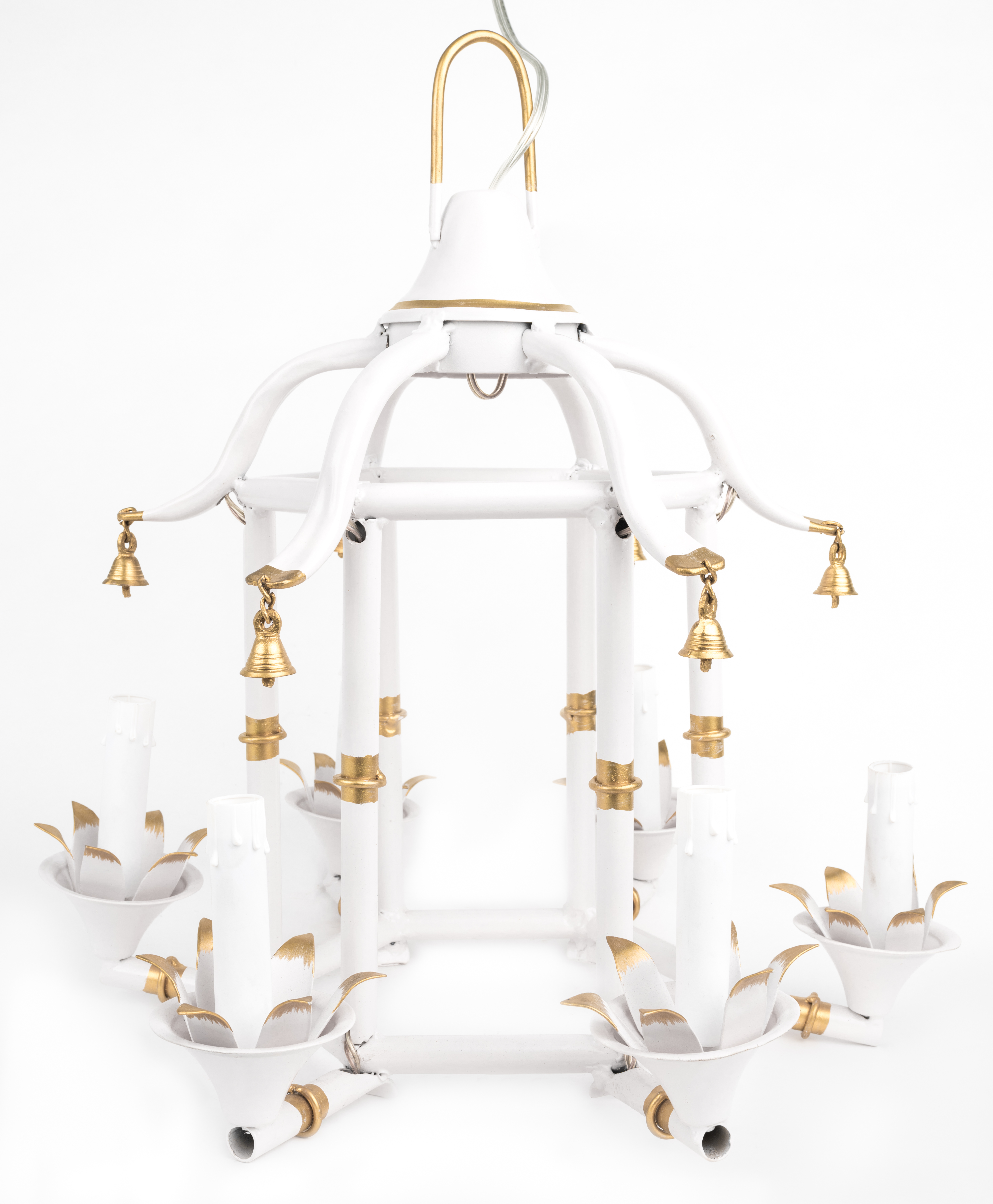 Incredible Ivory/Gold Chinoiserie Chandelier