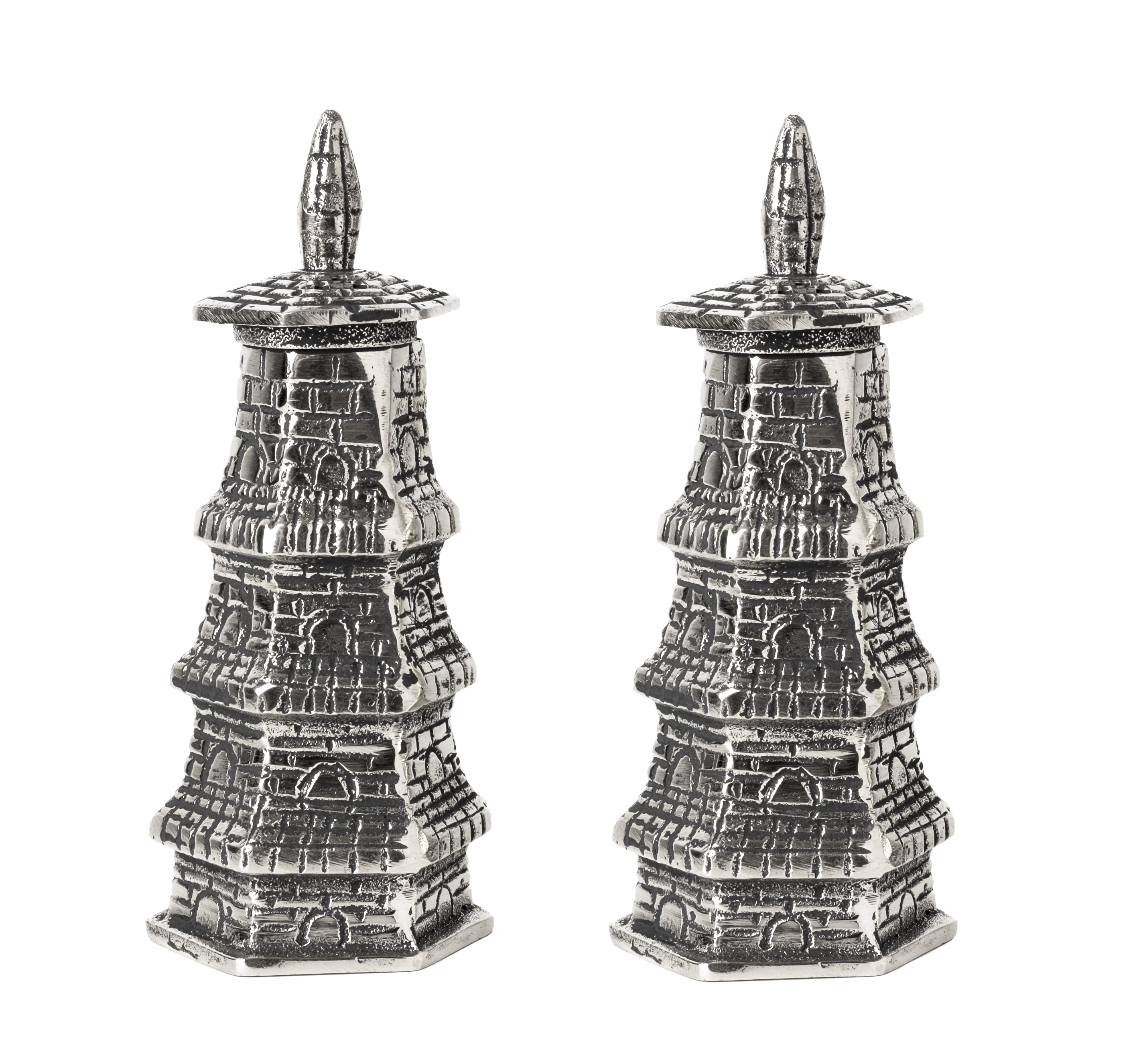 Super chic tall silver pagoda salt and pepper