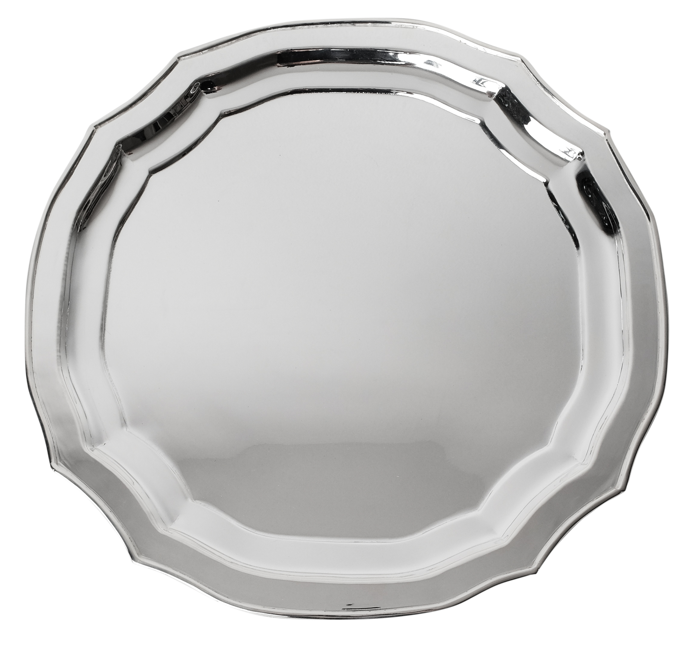 Fabulous scalloped round polished silver charger