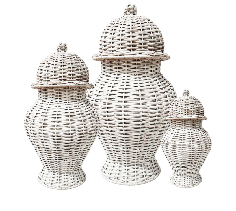Fabulous colored wicker ginger jar (white)