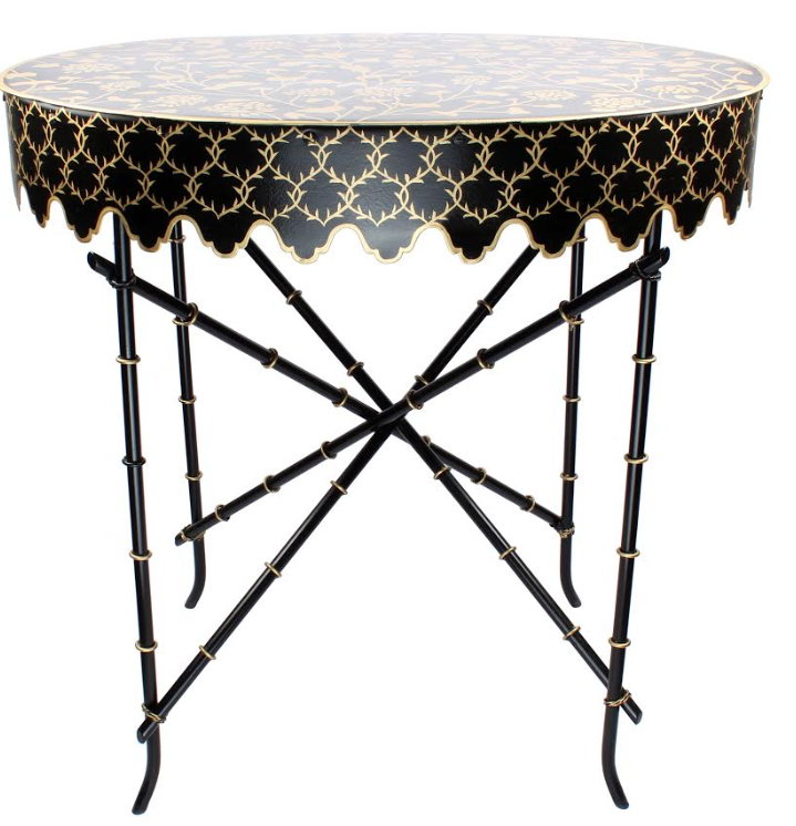 Spectacular black/gold handpainted tole scalloped table