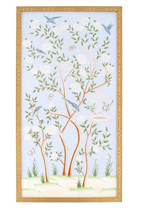 Spectacular handpainted chinoiserie mural pattern #3 (pale blue)